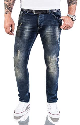 Rock Creek Designer Herren Jeans Hose Stretch Jeanshose Basic Slim Fit [RC-2117 - Blue Vintage - W38 L30]