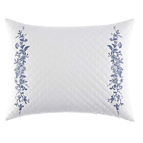 Laura Ashley Home | Charlotte Collection | Perfect Decorative Throw Pillow, Premium Designer Quality, Decorative Pillow for Bedroom Living Room and Home Décor, 16x20, China Blue