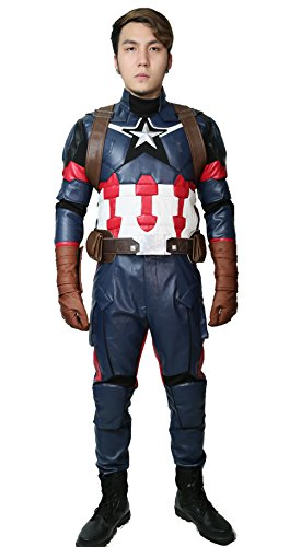 Wellgift Captain Kostüm Steven Roger Cosplay CW3 Erwachsene Herren Superheld Pu Leder Jacke & Hose & Harness Gürtel Handschuhe Outfit Halloween Verkleiden Kleidung Anzug