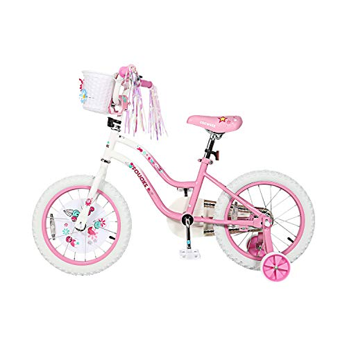 Kids Bike Princess Bike for Boys and Girls 12 14 Inch Children Bicycle with Training Wheels Basket for 2-6 Years Child (14 Inch,Pink)