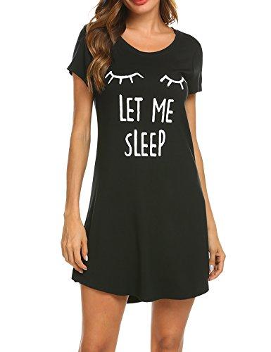 MAXMODA Damen Nachthemd Baumwolle Kurzarm Nachtwäsche Negligees Schlafhemd T-Shirt Sleepshirt