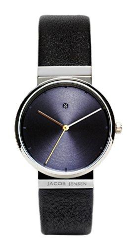 Jacob Jensen Damen Analog Quarz Uhr mit Leder Armband Dimension Series Item NO.: 851