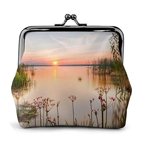 Lake View with Flowers Leaves Coin Purse Wallet Buckle Kiss-Lock Small Leather Change Pouch Gift for Women