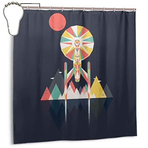 Shower Curtain Warp Factor Star Trek 3D Printing Waterproof Polyester Fabric Bathroom Curtain Bathroom Accessories with Hooks 72x72 Inch