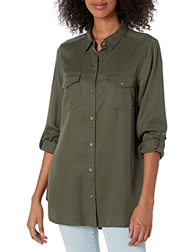 Amazon Brand - Daily Ritual Women's Tencel Utility Shirt, Olive,Small