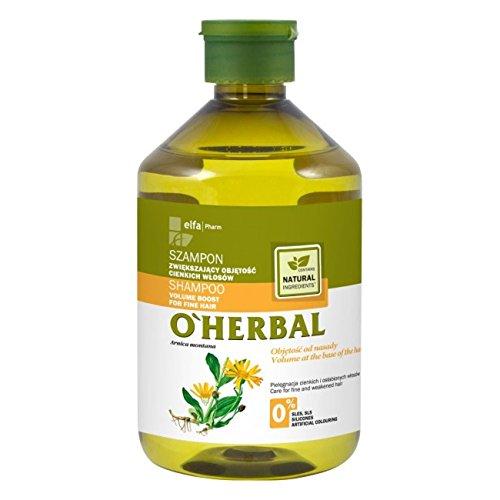 O'Herbal Champú Profesional Natural Volumen Para Cabello / Pelo Fino con Extracto De Árnica Ecológico Sin Sulfatos Ni Siliconas Ni Colorantes 500 ml (170908176)