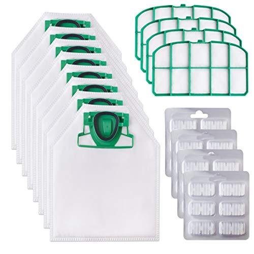 Awinker Kit di Ricambi Sostituzione per Vorwerk Folletto VK200 VK220 VK220S Compreso 10 Sacchetti + 24 Profumini + 2 Filtri (16 Pezzi per VK 200)