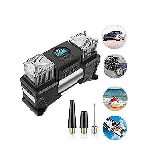 HUIXINLIANG Inflador de neumáticos de coche digital portátil con calibre 120 psi Auto apagado, Cilindros de alta resistencia pesada 12V Bomba de compresor de aire con luz LED para automóvil, camión, a