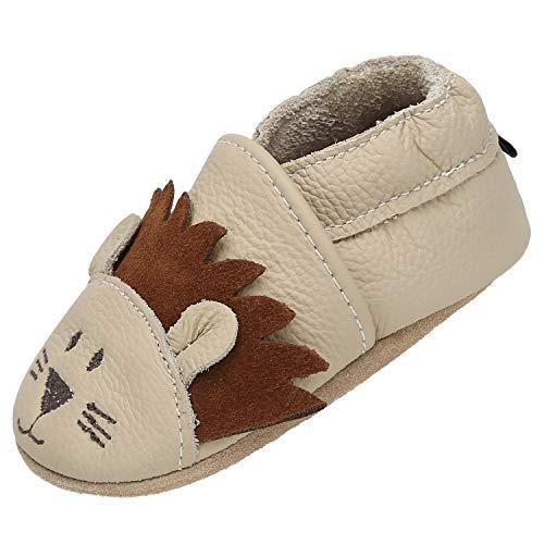 Yavero Schuhe für Kleinkinder Babyhausschuhe Unisex Elastisch Weicher Stabil Krabbelschuhe Warm Leicht Lauflernschuhe Hause Draußen Kita, Beige Löwe 12-18 Monate