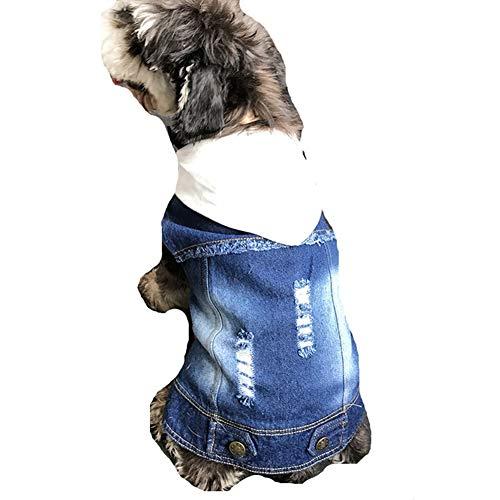 AMURAO Winter Hund Kleidung Mantel, Hund Französisch Bulldog Jeansjacke Jeans mit Kapuze Weste für Mops Katze Haustier Kostüm