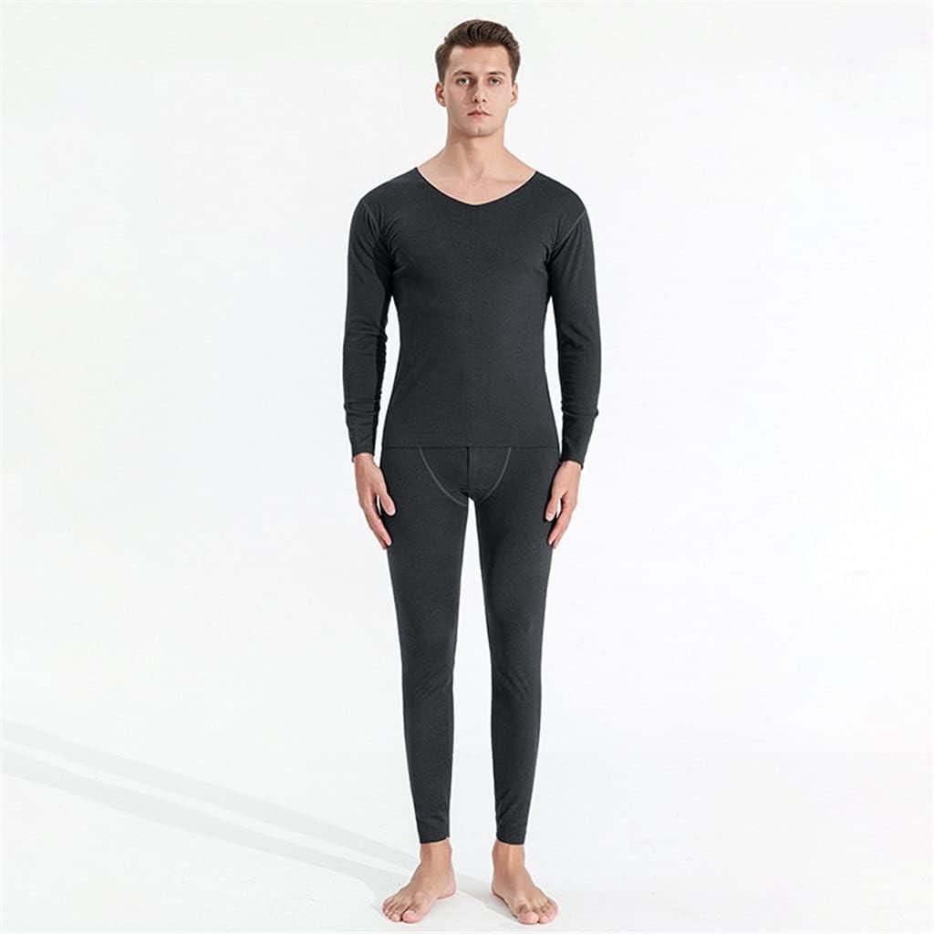 GELTDN Autumn Winter Men's Solid Thermal Underwear Oversized Loose Plus Size Cotton Autumn Clothes Long Pants Suit (Color : A, Size : XXL Code)