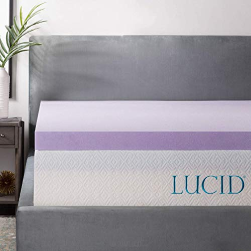 LUCID 3 Inch Lavender Infused Memory Foam Mattress ...