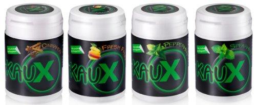 kauX Xylitol Zahnpflege-Kaugummi ohne Aspartam, 4'er Pack gemischt (60g=40 Stück pro Dose)