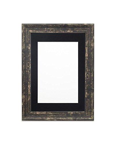 Fotolijst, met passe-partout, houtlook, onbreekbaar, plexiglas, 32 mm breed en 18 mm diep, lepel, zwarte lijst met zwarte passe-partout, 61 x 46 cm