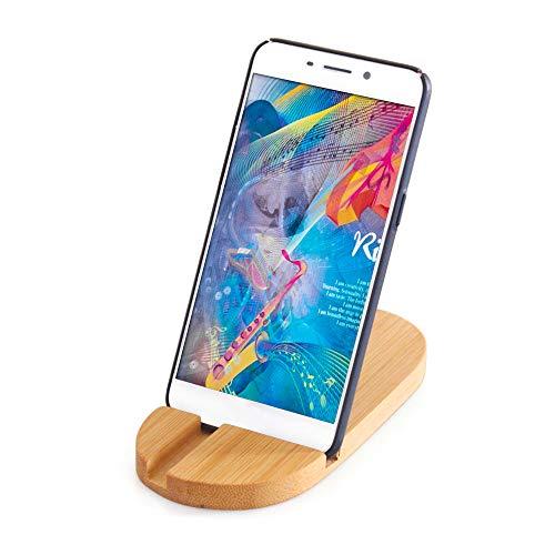 Blusea mobiele telefoon houder basis Tablet Universal mobiele telefoon Smartphone houder voor iPhone Bamboo Desktop mobiele telefoon stand compatibel met alle mobiele telefoons en iPad Mini
