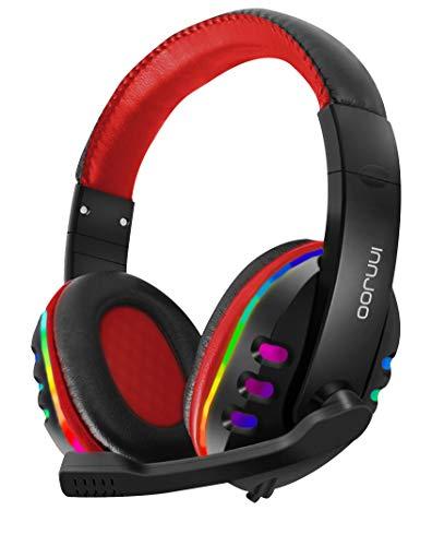 InnJoo Auriculares Profesionales Gaming con iluminación LED RGB - Controladores Súper Bass y Software de Sonido Mejorado. Micrófono con cancelación de Ruido y Caja de Control, Rojo/Negro