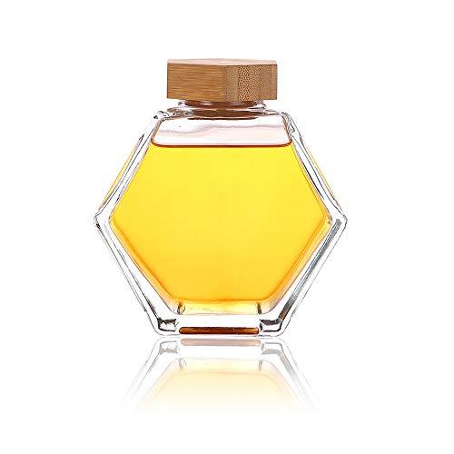Hexagon Shape Honey Pot Jar with Dipper Heat-Resistant Glass Storage Container Honey Pot Glass Honey Jar with Dipper and Lid Cover for Home Kitchen