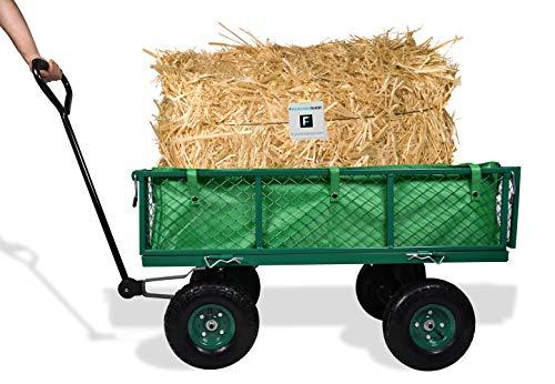 Carrello da giardino porta attrezzi con rimorchio a spinta in metallo inossidabile e telone impermeabile - Carriola da giardino a 4 ruote con portata max 350 KG
