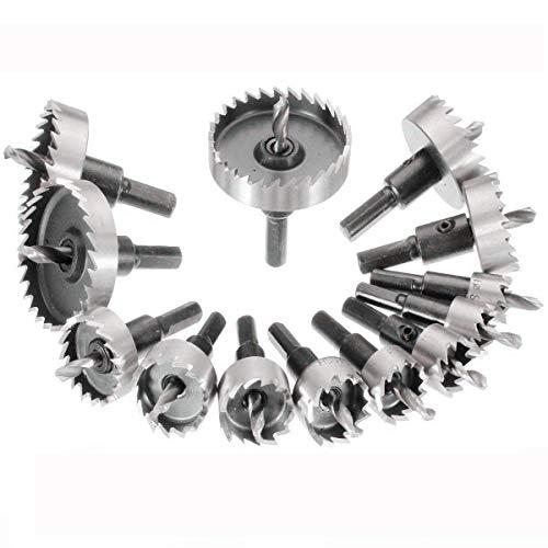 MOHOO 13PCS 16-53mm HSSドリルビット ホールソーセット ステンレス 超硬 高速度鋼 金属合金 対応 木工 プ...