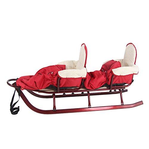 4U-Onlinehandel Schlitten Duo mit Rückenlehne, farb, 142cm rot