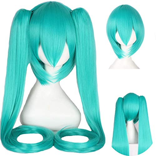 HOOLAZA Long Straight with 2 Ponytails Wig Vocaloid Hatsune Miku Cosplay Wigs