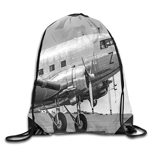 PPOOia Drawstring Backpacks Bags Daypacks,Old Airliner Cockpit Antique Engine Propellers Wings and Nostalgia Image,5 Liter Capacity Adjustable for Sport Gym Traveling