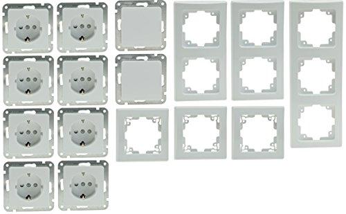 Delphi Steckdose Schalter Starter Set mit Rahmen I 8 Steckdosen + 2 Wechselschalter + 6 Rahmen I Weiß