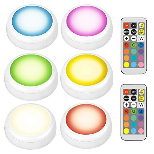 Uonlytech - Juego de 6 luces RGB para cabina de hockey sobre hielo, con 2 mandos inalámbricos, 13 colores, color blanco