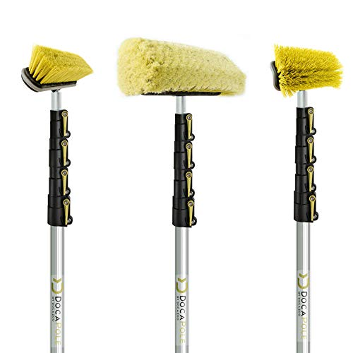 DOCAZOO DocaPole 24 Foot High Reach Brush Kit with 6-24 Foot Extension Pole // Brush Kit Includes 3 Brushes // Soft Bristle Car Wash Brush // Medium Bristle Cleaning Brush // Hard Bristle Deck Brush