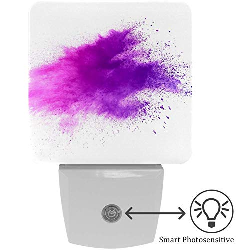 LED Nachtlicht Steckdose Lila Farbpulver explodiert Helligkeit Stufenlos Einstellbar für Nachttischlampe,Kinderzimmer, Treppenaufgang, Schlafzimmer