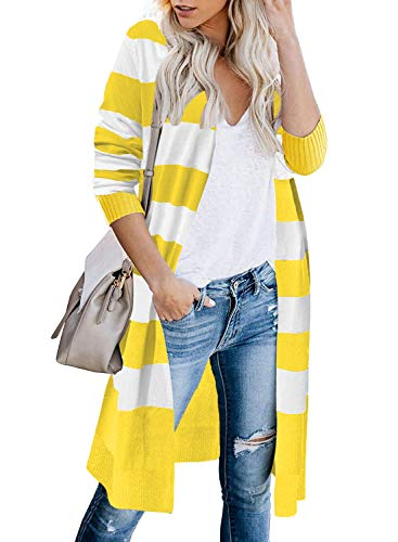 CARDYDONY Women's Long Sleeves Striped Print Knitting Cardigans Stripe Yellow M