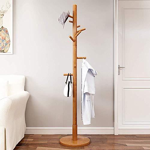 Vrijstaande houten standaard met ronde basis voor kleding, sjaals, handtassen, paraplu's (9 haken) Organizer (kleur: teak) teak