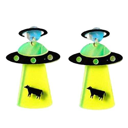 DINEGG Pendientes de la Nave Espacial del Pendiente de acrílico de la Gota de la UFO Accesorios para joyería geométrica Creativa QQQNE