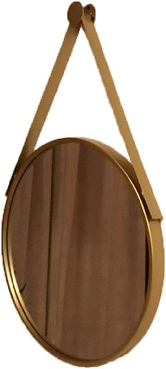 Mirrors Mirror Simple Makeup Mirror Wall Hanging Decoration HD Vanity Mirror Nordic Style Princess Mirror Punch-Free Glass Mirror (color   gold, Size   70  70cm)