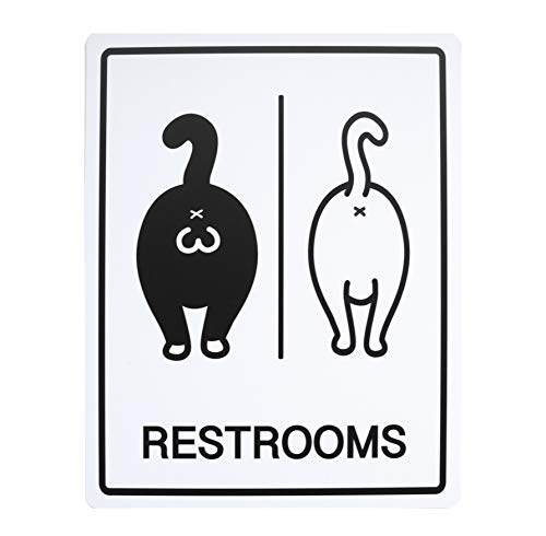 Funny Cat Themed Restrooms Sign - Double Sided Bathroom Sign for Doors - Includes Adhesives - Washable PVC Sign (5.3 x 6.7 inches)