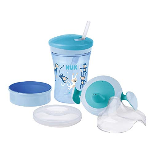 Nuk 3-In-1 Training Set con Trainer Cup Tazza Biberon (6M+) Magic Cup Tazza Biberon (8M+) Action Cup Tazza per Bimbi (12M+) 230 Ml senza Bpa Scimmia (Blu) - 960 g
