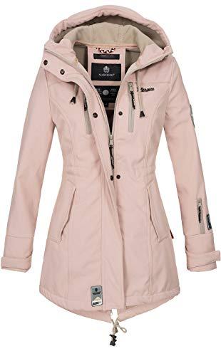 Marikoo Damen Winter Jacke Winterjacke Mantel Outdoor wasserabweisend Softshell B614 [B614-Zimt-Rosa-Gr.L]