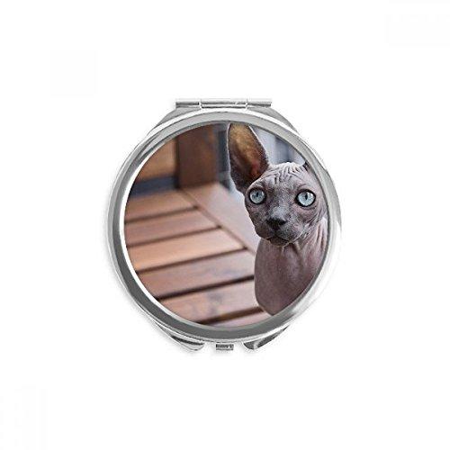 DIYthinker cat big ear animaux photographie pousse miroir rond maquillage de poche à la main portable 2,6 pouces x 2,4 pouces x 0,3 pouce Multicolore