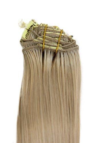 WIG ME UP - EX03-24 Clip-in Komplett-Set 8 tlg. Extensions Haarverlängerungen Vollkopf Farbe Helles Aschblond (24) Länge 40 cm