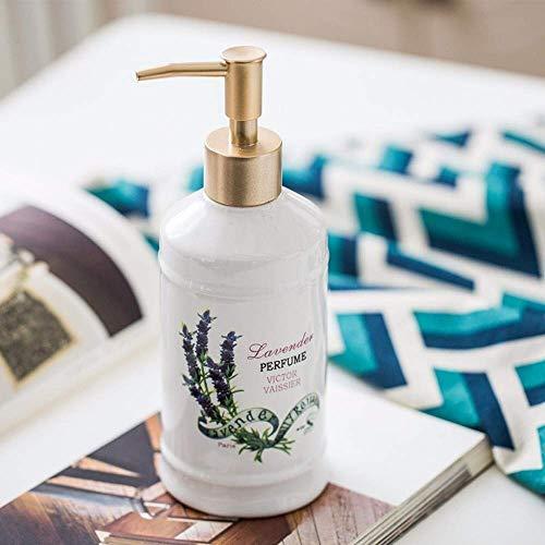 ZLXLX Lotion fles vloeibare zeepbak, witte keramiek Europees type, origineel design desinfectiefles voor handen, moderne eenvoudige handgemaakte lavendel snelle extrusie navulbare zeep