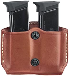 Gould & Goodrich 851-0 Gold Line Double Mag Case With Belt Loops (Chestnut Brown) Fits KAHR ARMS P380; KEL-TEC P3AT, P32; RUGER LCP; SIG P238; SW BODYGUARD 380