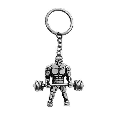 tumundo Schlüssel-Anhänger Muskel-Mann Gewicht Fitness Bodybuilding Sport Bizeps Herren Schlüsselring Edelstahl, Farbe:Silber