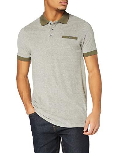 Marca Amazon - find. Polo de Vestir Hombre, Verde (Dk Khaki And White), L, Label: L