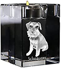 Schnauzer, Crystal Candlestick, Candle Holder with Dog, Souvenir, Limited Edition