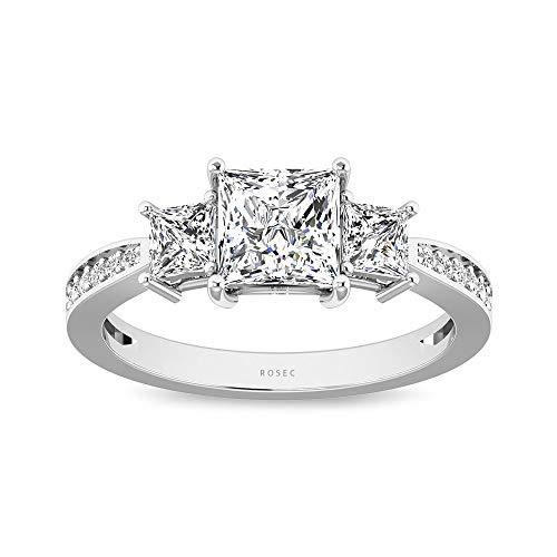 0,63 Karat Diamant IGI zertifiziert Drei Stein Ring, Seite Stein Verlobungsring, Prinzessin Schliff Diamant IJ-SI Farbe Klarheit Trilogie Ring, Ehering, 14K Weißes Gold, Size:EU 60