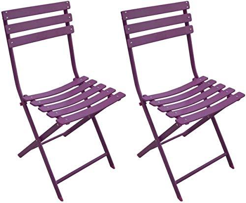 Proloisirs Chaise Pliante en Acier Nonza (Lot de 2)