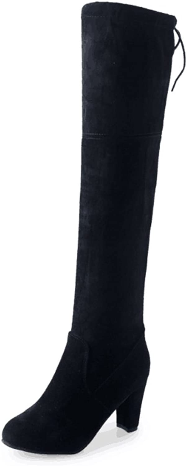 Esthétique Women's Thigh High Boots Stretchy Over The Knee Chunk Block Heel Boots