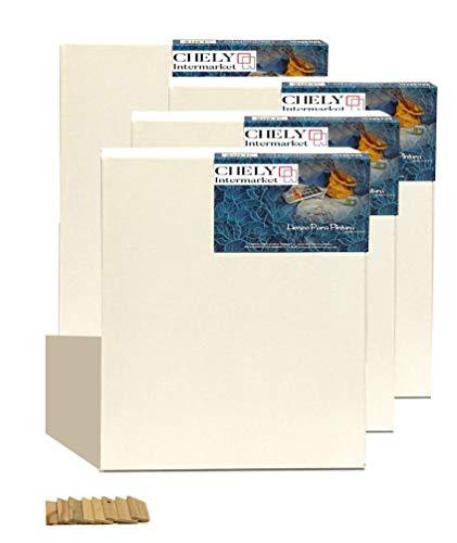 Chely Intermarket, lienzos para pintar 30x40 cm Juego de 4 Lienzos pre-estirados/Perfil 16 mm/280 grs/Apto para Óleo y acrílico/100% Algodón/Color Blanco/Triple Preparado(560-30x40*4-0,30)