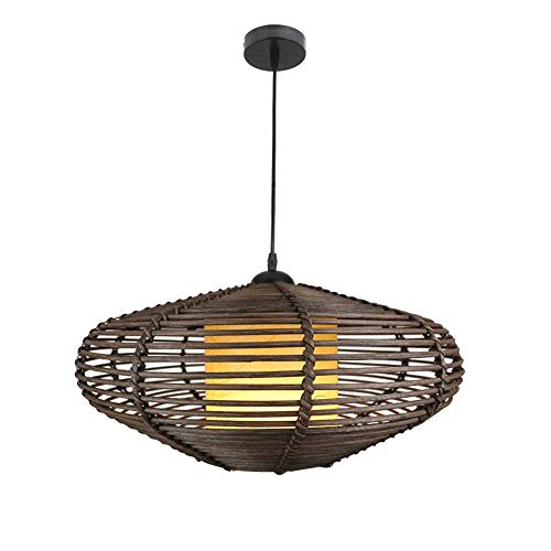 CSSYKV Nordic Country Style Pastoral Style Rattan Wicker Lampshade Living Room Dining Room Tea Room Zen Rattan Chandelier Ceiling Decoration Lamp E27