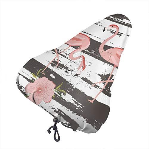 Sillín de bicicleta no aplicable con diseño de flores de flamencos rosas, extra suave, cojín para sillín de bicicleta con cubierta resistente al agua y al polvo, Patrón de flamenco rosa y planta., talla única